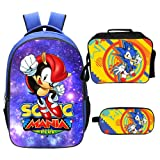 Qushy Sonic Backpack Lunch Box Pencil Case Outdoor School Package (E) (Color: E)