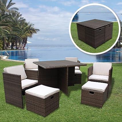 9 Piece Rattan Cube Set