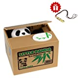 Piggy bank HmiL-U Automatic Stealing Coins Cents Penny Piggy Bank Christmas/Birthday Gift for Kids With A Free Ceramic Whistle (Panda)