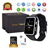 Curved Touch Screen Bluetooth Smart Watch with Camera, Unlocked Watch Cell Phone Waterproof Smartwatch Phone for Android iOS Samsung iPhone Men Women Kids Girls (Black) (Color: black)