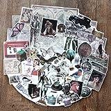 56PCS Scrapbook Stickers, Doraking DIY Decoration Transparent Sulfuric Paper Vintage Middle Age Stickers for Scrapbook, Decoration (Middle Ages, 56PCS/Pack) (Color: Middle Ages)