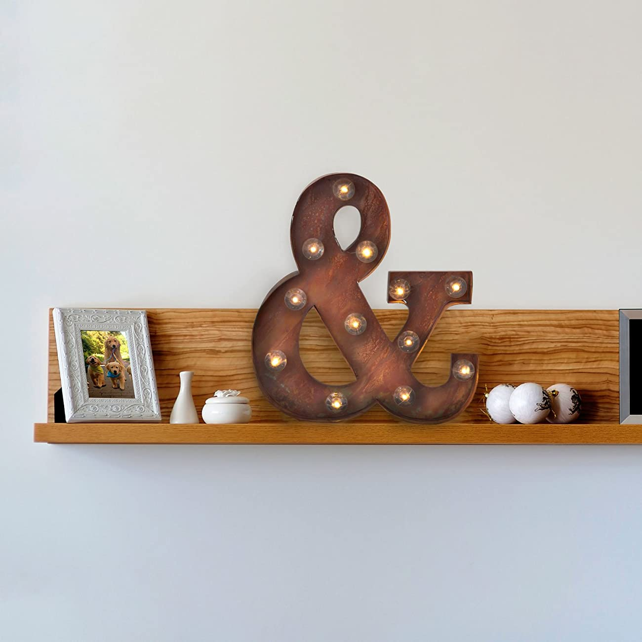 Vintage Lighted Ampersand Symbol Battery Marquee Light with 12 Warm White LEDs, Rustic Metal, Timer Option Available 1