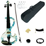 Kinglos 4/4 White Blue Flower Colored Solid Wood Intermediate-A Electric / Silent Violin Kit with Ebony Fittings Full Size (DSZA1201) (Color: Dsza1201)