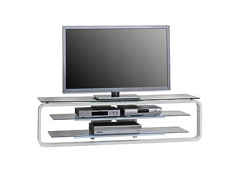MAJA-Möbel 1631 9956 TV-Rack, weiß Hochglanz - Klarglas, Abmessungen BxHxT: 138 x 39 x 36 cm, incl. LED-Beleuchtung