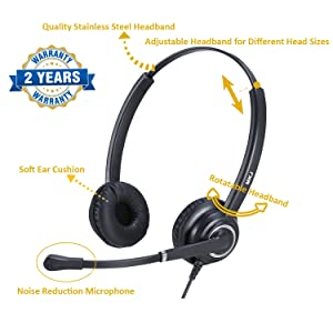 Cisco Phone Headset with Microphone Dual Ear Call Center