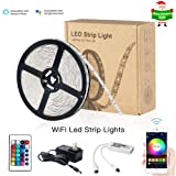 Zombber Smart WiFi LED Lights Strip Kit with Remote / WiFi Controller / Power Supply, Alexa / Google Home Controlled, 16.4 Foot 150 Leds 5050 RGB Muliticolor Dimmable Bedroom TV Backlight (Color: 16.4ft WiFi LED Light Strip)