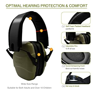ucho Shooting Earmuff Safety Ear Protection - NRR 34dB Shooting Ear Protection Noise Reduction Headphones for Adults & Kids Ear Protection for Shooting Hearing (Color: Army Green)