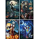 4 Pack 5D Full Drill Diamond Painting Kit, KISSBUTY DIY Diamond Rhinestone Painting Kits for Adults and Beginner Embroidery Arts Craft Home Decor, 15.8 X 11.8 Inch (Halloween Skull Jack and Sally) (Color: Halloween Skull Jack and Sally)