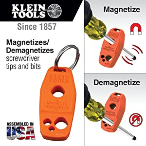 Magnetizer and Demagnetizer for Screwdriver Bits and Tips, Powerful Rare-Earth Magnet Klein Tools MAG2 (Color: Original Version)