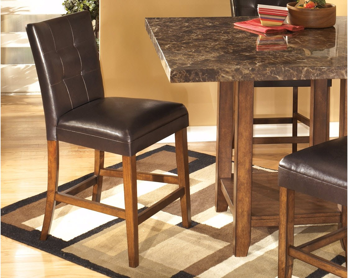 Ashley Furniture Signature Design - Lacey Upholstered Barstool - Curved Back - Set of 2 - Medium Brown Finish