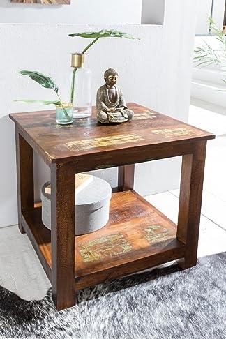 FineBuy tavolo Shabby Chic DELHI con 2 ripiani di colore marrone scuro | in legno Tavolo basso design 56 x 60 x 56 cm | Tavolino soggiorno
