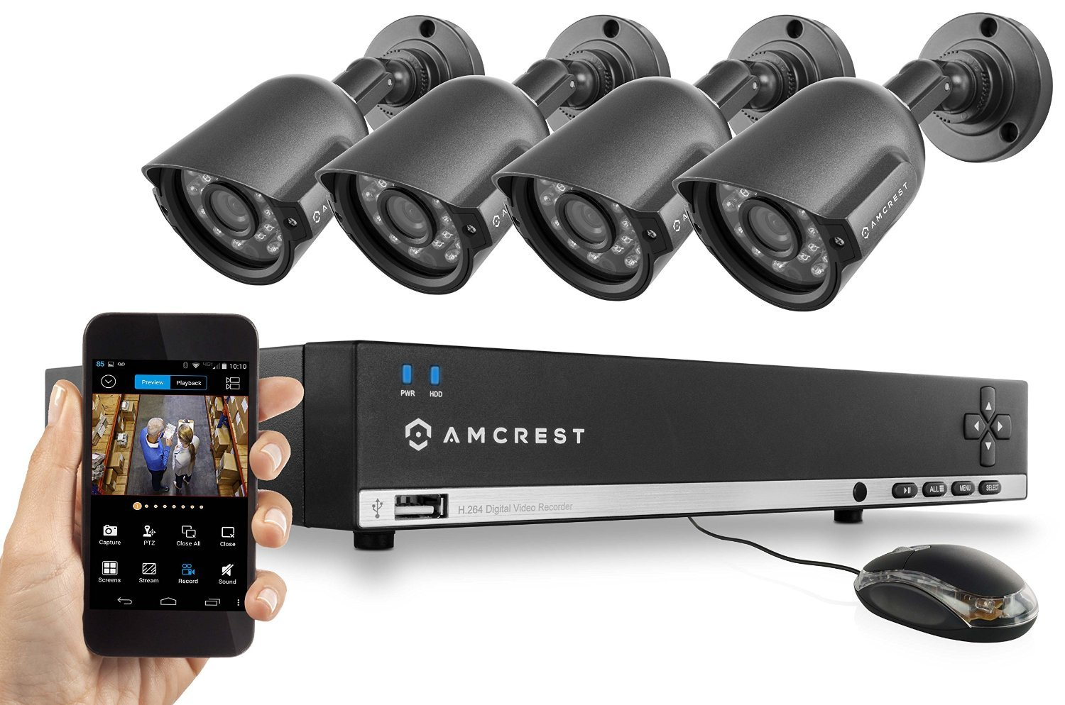Amcrest 960H Video Security System with Four Weatherproof Cameras