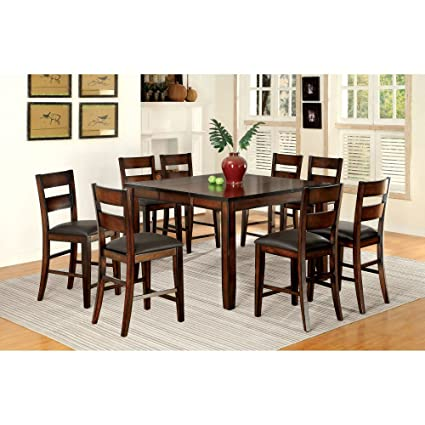Furniture of America Gibson Bold Counter Height 9 Piece Dining Table Set