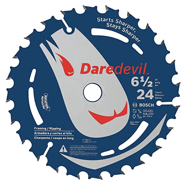 Bosch DCB624 6-1/2 In. 24 Tooth Edge Circular Saw Blade for General Purpose (Tamaño: 6-1/2 by 24 Teeth)