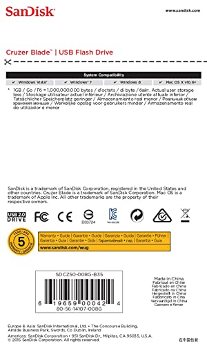 SanDisk Cruzer Blade 8GB USB 2.0 Flash Drive