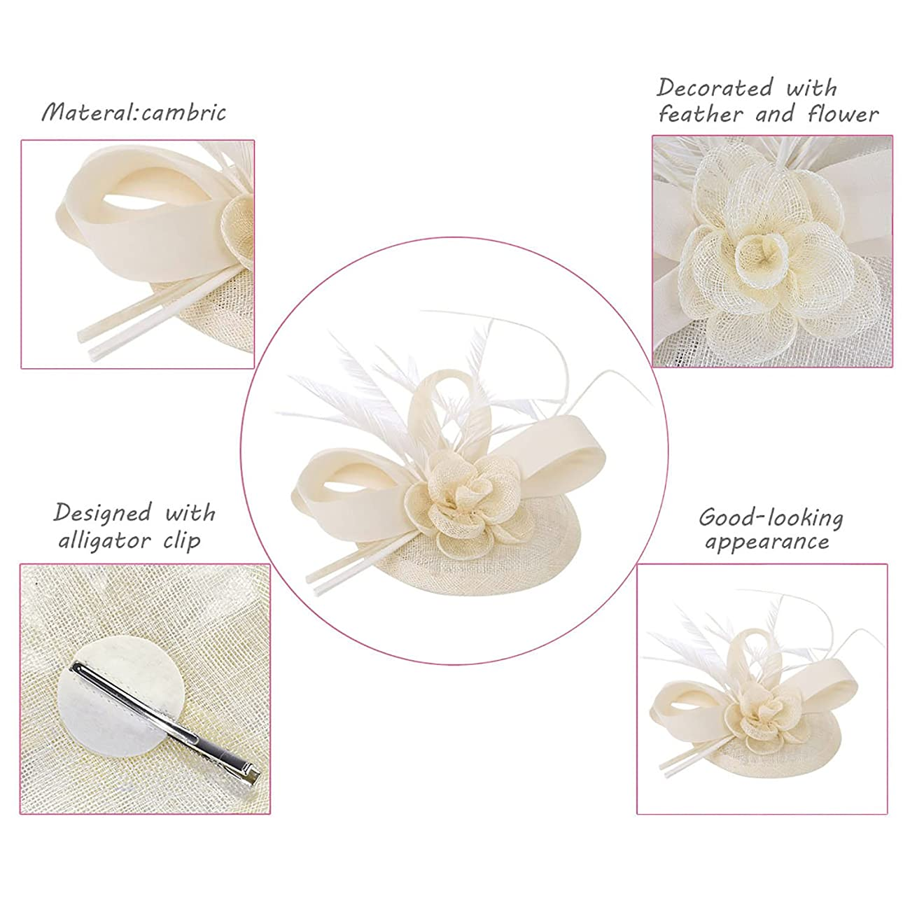 Cocktail Pillbox Hat Fascinator Hair Clip Bridal Headwear for Women 2