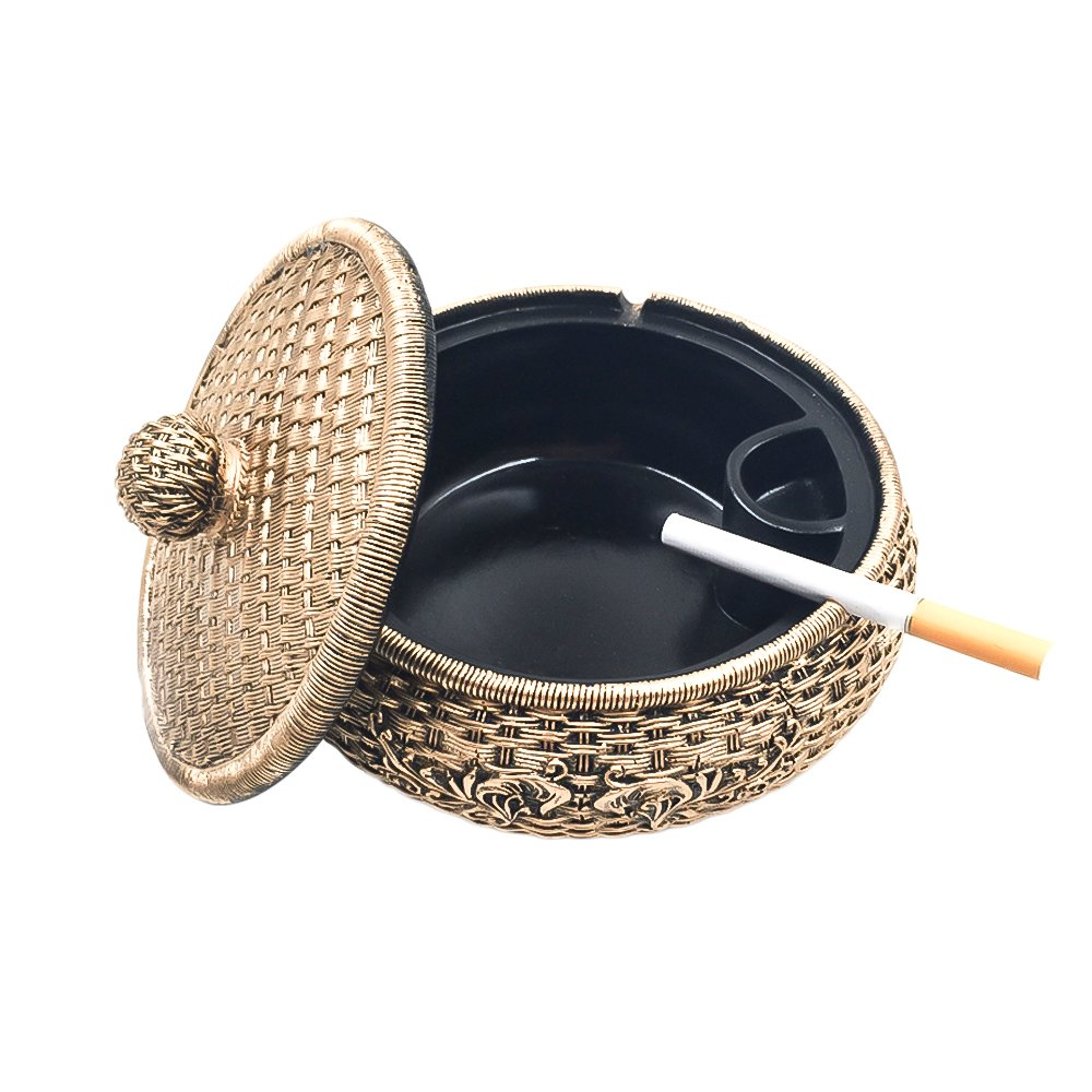 Tri-polar Home Decor Creative Eco-friendly Paint Large Cigarette Office Table Capacity Cigar Ashtray with Lid As Fantasy Gifts for Men Smokers,Rattan 1