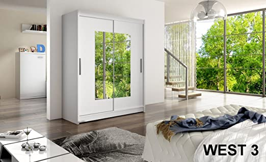 WARDROBE WEST 3 WHITE 150 cm wide 2 sliding doors many colours