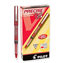Pilot Precise V5 Stick Rolling Ball Pens, Extra Fine Point, Red Ink, Dozen Box (35336)