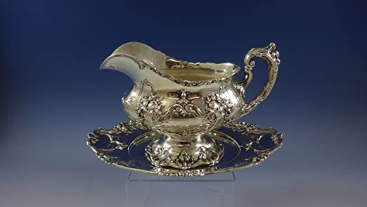 Francis I by Reed & Barton Ornate Sterling Silver Gravy Boat with Underplate Set (#0954) from Antique Cupboard
