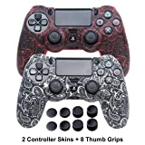 Silicone Skins for PS4 Controller - DualShock 4 Cover Water Printed Protector Case Set for Sony PS4, PS4 Slim, PS4 Pro - 2 Pack Leaf PS4 Accessories - 4 Pairs PS4 Thumb Grips - Red & White (Color: Leaf Red+White)