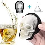 Large 3D Skull Ice Mold, Large Silicone Skull Ice Cube Tray of 400ml Capacity, Durable Black Skull Ice Maker with Funnel for Whiskey, Bourbon, Cocktails, Beer, Perfect for Parties (1pcs) (Tamaño: 1pcs)
