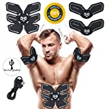 Abs Stimulator Rechargeable Muscle Trainer Ultimate Abs Stimulator Ab Stimulator for Men Women Abdominal Work Out Ads Power Fitness Abs Muscle Training Gear ABS Workout USB Charger (Black-Charger) (Color: Black-Charger)