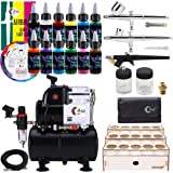 OPHIR 2 Dual-Action and 1 Single-Action Airbrush Multi-Purpose Airbrush System with Airbrush Compressor Tank and 6 Primary Color 6 Special Color Acrylic Paint (220V EU Plug) (Tamaño: 220V EU PLUG)