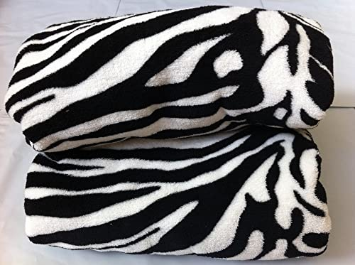 Queen Blanket Sumptuously Soft Plush Black Zebra Animal Print Blankets / Reversible