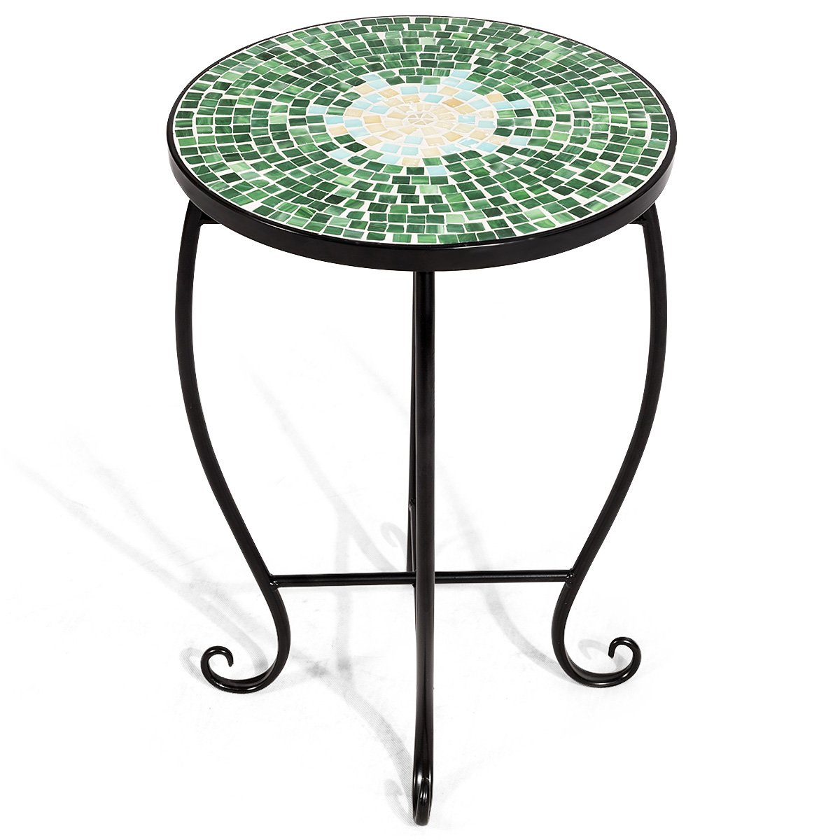 Giantex Mosaic Round Side Accent Table Patio Plant Stand Porch Beach