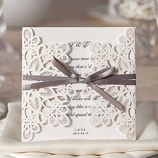 Wishmade Luxury Elegant Laser Cut Wedding Invitations Cards White 50 Pieces Set for Marriage Birthday Bridal Shower with Ribbon Bowknot Envelopes Seals Party Favors