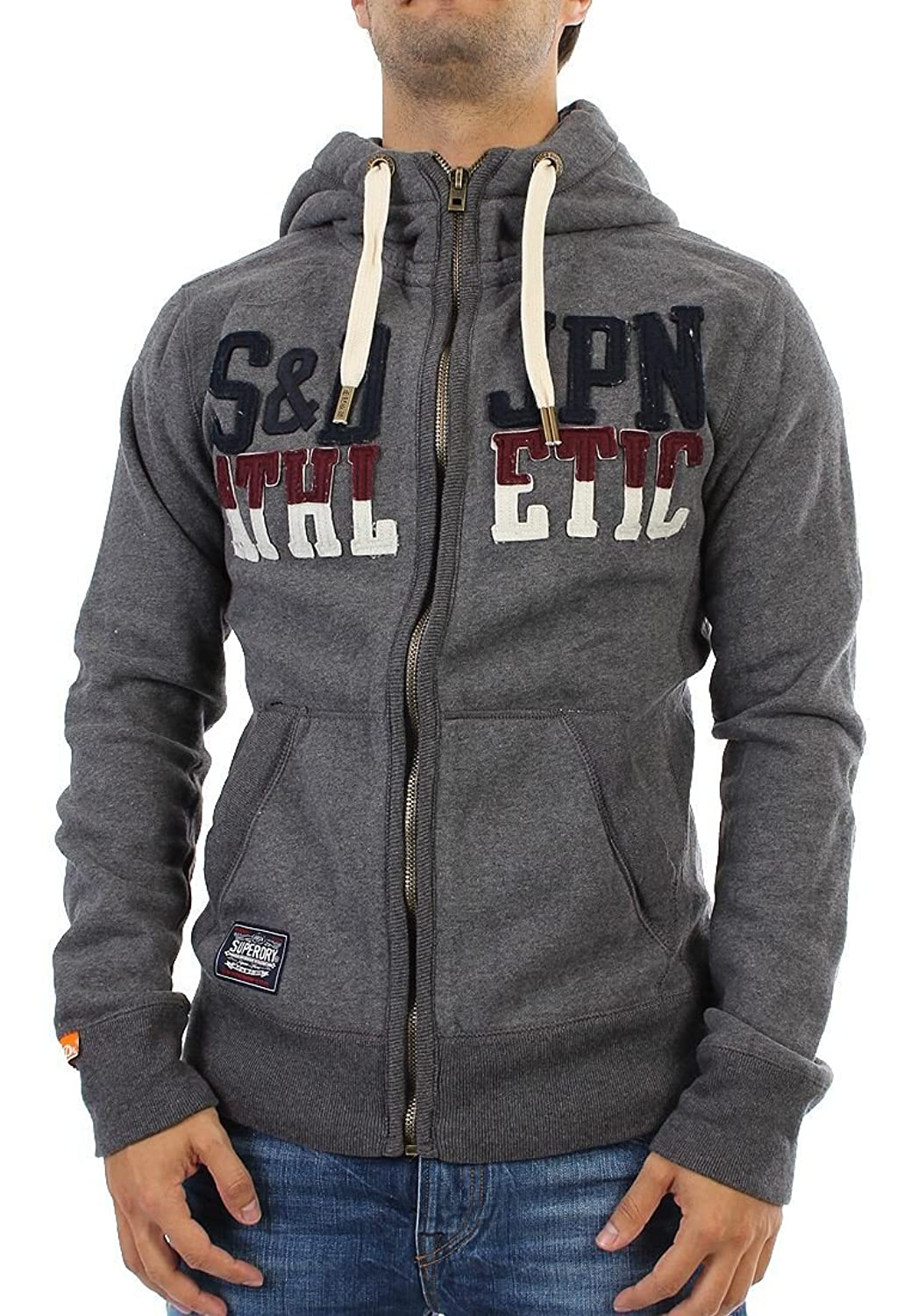 Superdry Zipper Men - CORE APPLIQUE ZIPHOOD - Ash Marl