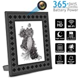 Hidden Spy Camera With Photo Frame,WiFi Nanny Camera with PIR Motion, Night Vision, Live View, 365 Days Battery Life and Message Alerts to Smartphone perfect For Home and Office (Color: Black)