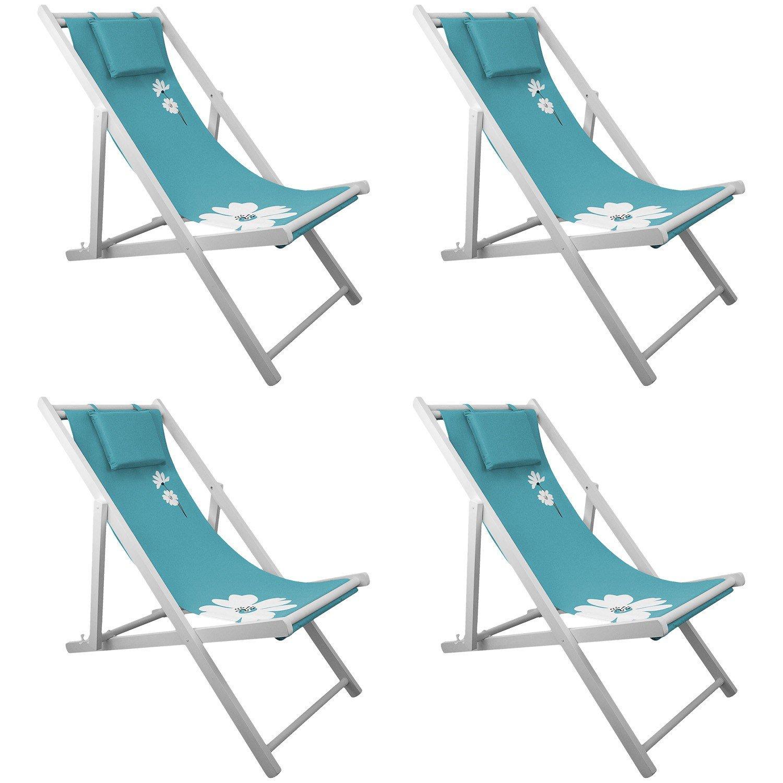 4x Strandstuhl Campingstuhl Liegestuhl 4-fach verstellbar Gartenstuhl Klappstuhl Strandliege Campingliege - Blau