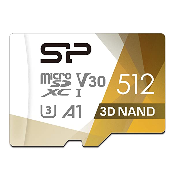 Silicon Power 512GB R/W up to 100/ 80MB/s Superior Pro microSDXC UHS-I (U3), V30 4K A1, High Speed MicroSD Card with Adapter (Color: 512GB)
