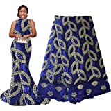 African Lace Fabric Nigerian French Lace Net Fabric Embroidered Fabric 5 Yards for Wedding Party F50732 (Royal Blue) (Color: royal blue, Tamaño: 51 Inches)
