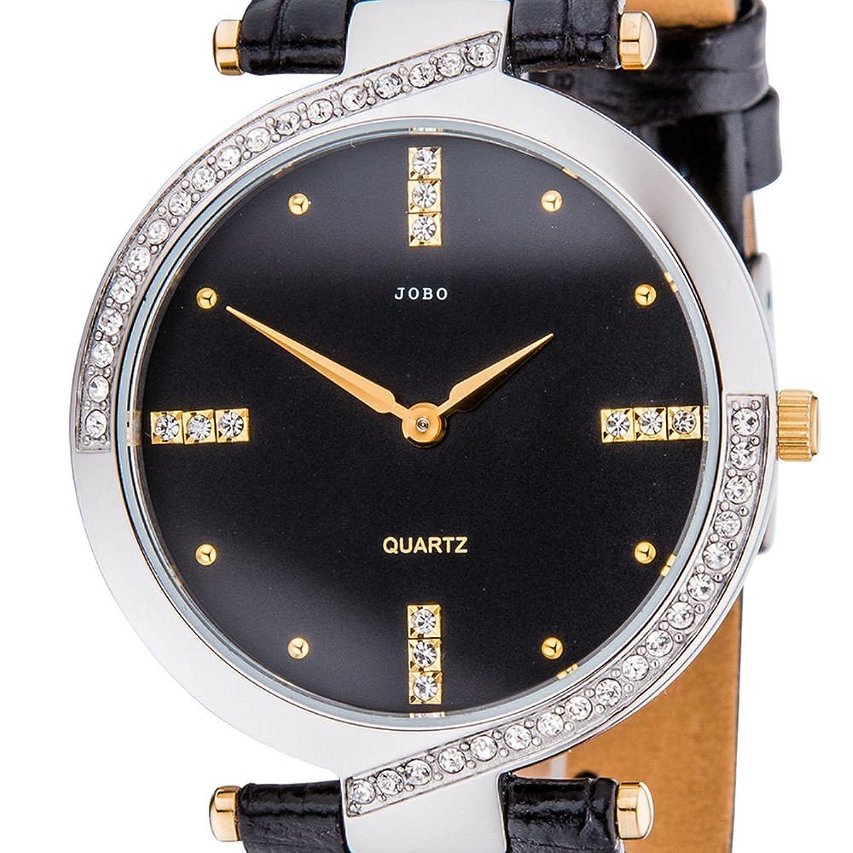 Damen-Armbanduhr Quarz Edelstahl teilvergoldet mit Kristall-Elements bestellen