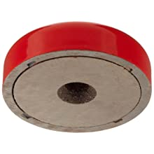 "Cast Alnico 5 Shallow Pot Magnet With Keeper, 1-1/2"" Outer Diameter, 0.400"" Thick, With 0.189"" Center Hole And 45 Degree Bevel (Pack of 1)"