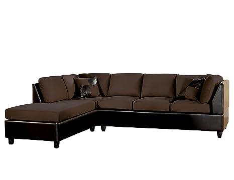 ACME 10110 Sectional Sofa, Chocolate