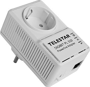 Telestar Digibit PL 500 Powerline Adaptateur réseau avec prise Blanc 300 m 500 Mbps