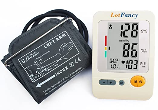 LotFancy FDA Approved Automatic Digital Upper Arm Blood Pressure Monitor ,Heart Beat Meter , Large LCD Display,120 Memories, WHO Indicator NO Power adapter,NO batteriesMedium cuff 8.6-14.2 inch