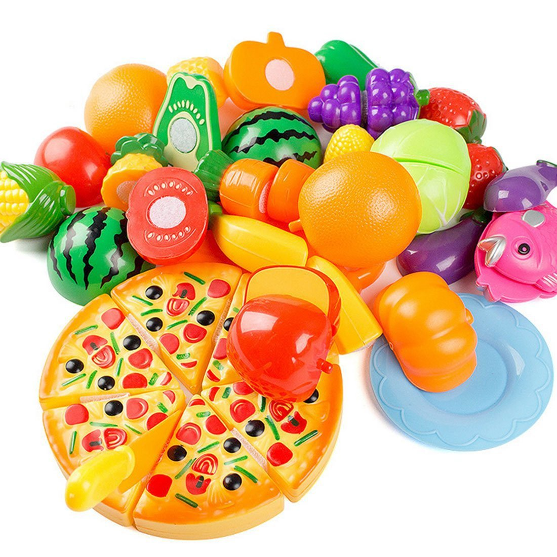 Plastic Toy Food : Zinkoda pcs plastic play food fruit vegetable kitchen