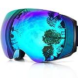 Zionor X4 Ski Snowboard Snow Goggles Magnet Dual Layers Lens Spherical Design Anti-Fog UV Protection Anti-Slip Strap for Men Women (Color: A1-Lagopus X4 Blue Frame Revo Blue Lens, Tamaño: One Size)