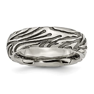 Men's Titanium Grey Safari Grooved and Domed Wedding Band Ring