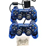 Saloke Wired Gaming Controller for Ps2 Double Shock (ClearBlue and ClearBlue) (Color: ClearBlue and ClearBlue)