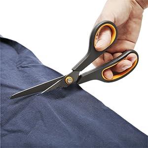 CCR Scissors 8 Inch Soft Comfort-Grip Handles Sharp Titanium Blades, 4-Pack (Color: Gold)