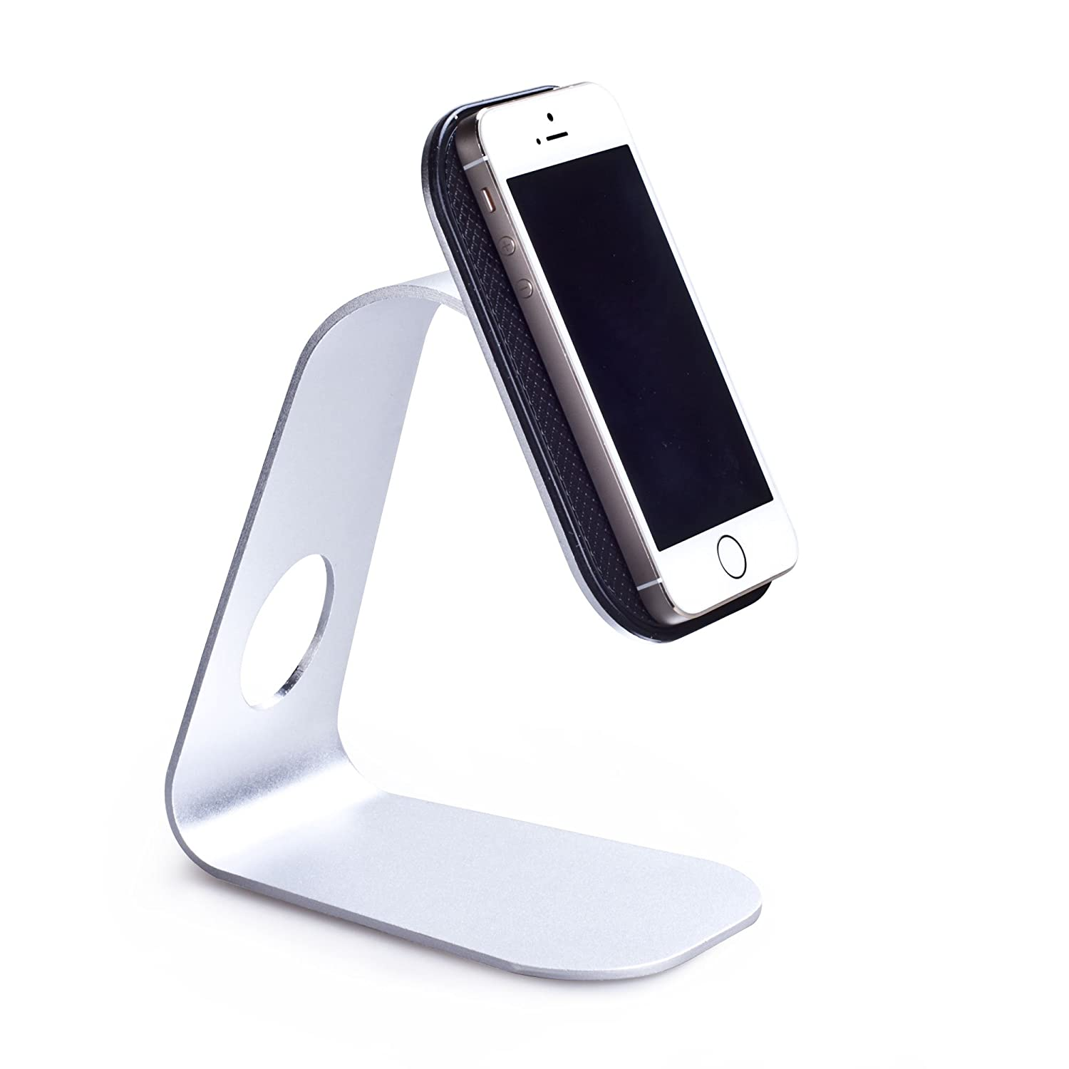 AmoVee Portable Nano Aluminum Desktop Phone Stand Smartphone Holder w/ Micro-Suction Cell Phone Holder Stand Mount Compatible w/ Apple iPhone 6 Plus, 5s; Samsung Galaxy Note 4, Galaxy S5, Galaxy S4; HTC One M8; Nexus 6, Nexus 9; LG G3; iPad Air; iPod and Other Smartphones, Tablet Pcs (Silver)