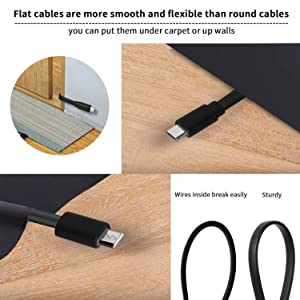 2 Pack 20FT Power Extension Cable Compatible with WyzeCam, Wyze Cam Pan, NestCam Indoor,Blink, Yi Camera,Amazon Cloud Camera,USB to Micro USB Durable Charging and Data Sync Cord (Black) (Color: Black)