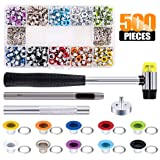 Rustark 500 Sets Grommet Kit 3/16 Inch Grommet Setting Tool Metal Eyelets Set with 4 Pieces Install Tool Kit in Storage Box for Clothes Shoes Bag Paper Leather Crafts DIY Projects (10 Colors)