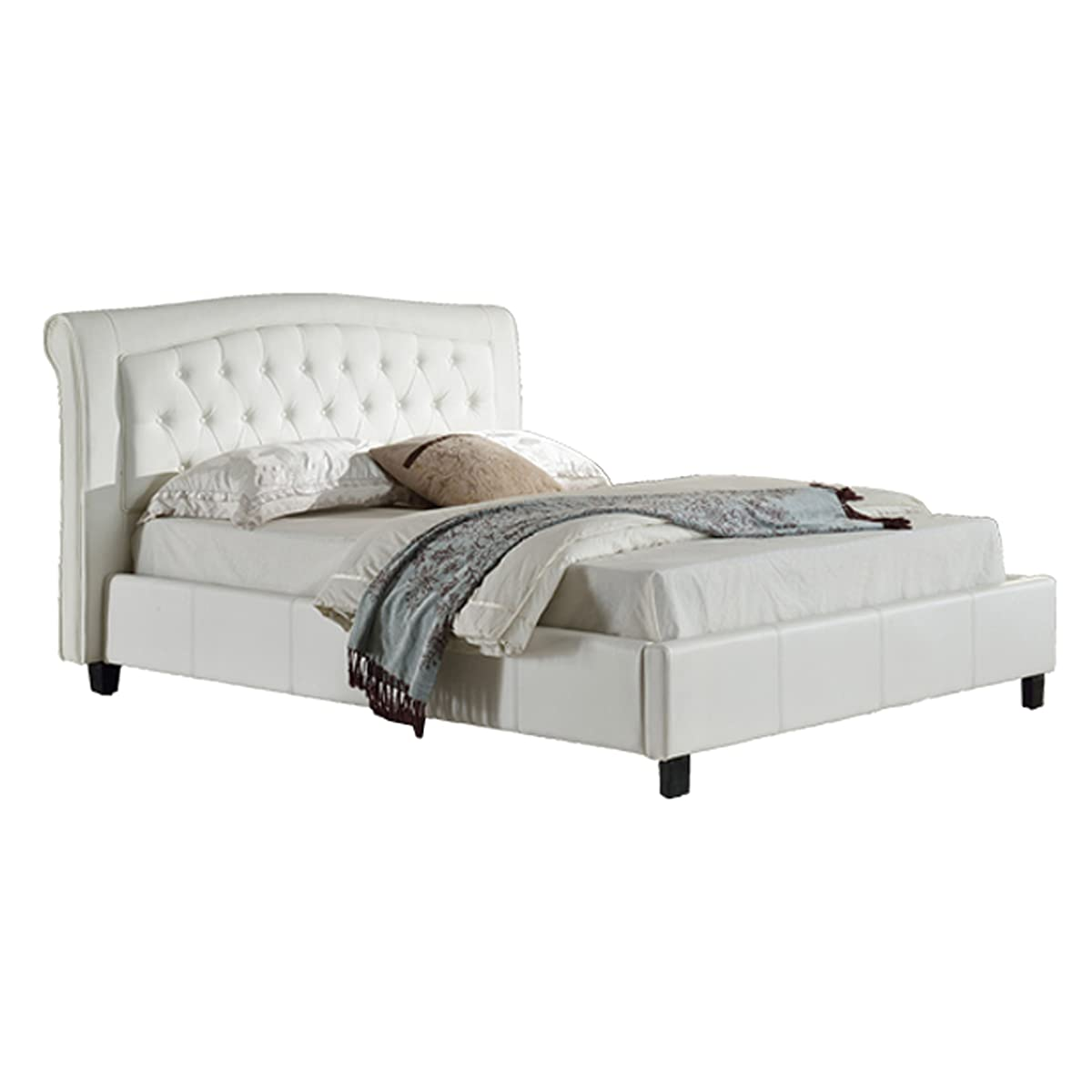 Milton Greens Stars Darcy PU Platform Bed with Tufted Headboard, Queen, White